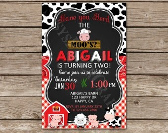Farm Birthday Invitation, Digital File, You Print