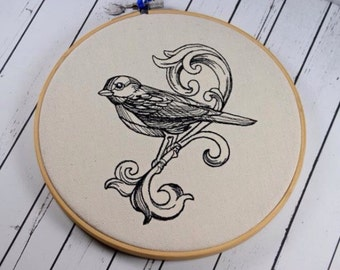 Ornate Bird Embroidery Hoop, Bird Home Decor