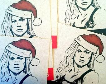 "Ronda Rousey - ""Seasons Beatings"" UFC Christmas Greetings Card - MMA"