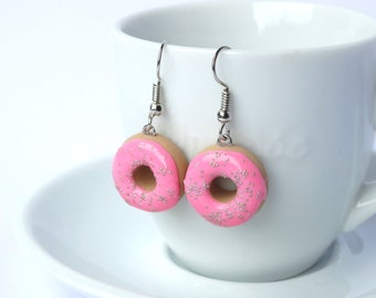 Miniature cute baby pink icing donut dangle earrings charms kawaii sweet silly food jewelry