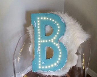 Battery Operated Metal Light Up Letters Teal Distressed Metal Marquee Sign - CUSTOM COLORS AVAILABLE