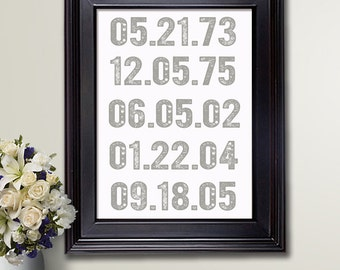 What a Difference A Day Makes / Custom dates / Family dates wall art / Housewarming gift / Important Dates art print /Birthdates Keepsake#4