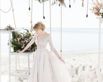 Non-corset A-line silhouette lavender wedding dress with a lace bodice // Simple wedding dress