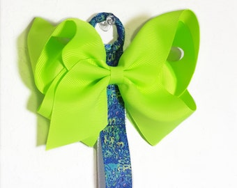 Bow Holder in Blue and Bright Green, Headband Holder, Hair Bow Organizer with Attached Clips for Hair Ponies, Baby Headbands, Cheer Bows