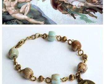 """Bracelet """"Cherub"""" Jasper stones (semi precious), and brass ( European manufacturing)"""
