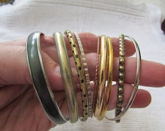 Vintage 60's skinny metal bangle bracelets boho lot of 9