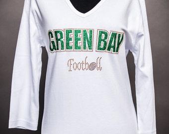 Green Bay Football 3/4th-Sleeve White Rhinestone Shirt