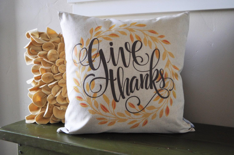 Fall Pillow Cover Give Thanks Fall Decor Thanksgiving Decor