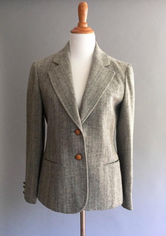 70s Wool Herringbone Blazer Jacket by Kirkland Hall  (S/M)