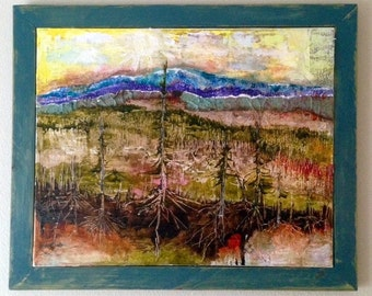 Acrylic Painting, Watercolor landscape, Abstract Art Landscape Forest, OOAK painting  20 x 16 signed by YakiArtist