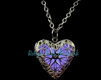 Lilac Purple Glow In The Dark Filigree Heart Necklace in Silver on Various Lengths of Crossed Chain