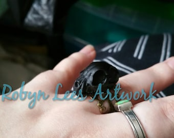 Black Resin Cat Kitten Skull Adjustable Bronze Filigree Ring, Animal Anatomy, Gothic Anatomical