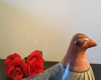 Tonala Vintage Bird, Folk Art Bird, Large Vintage Tonala Hand Painted, Hand Glazed, Mexican Clay Bird, Folk Art Pottery, Made in Mexico