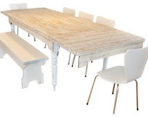 Weathered Extension Farm Table with Breadboard Ends