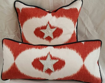 Red White Nautical Ikat with a twist stars and stripes beach style pillows
