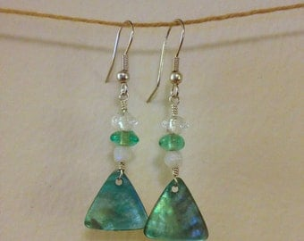 teal glass and shell earrings