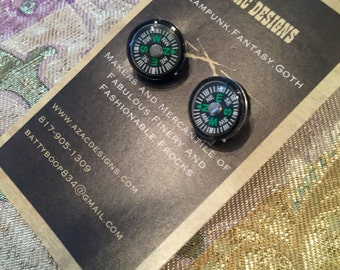 Steampunk compass cuff links deiselpunk