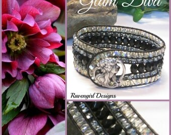 GLAM DIVA Leather Wrap Bracelet, Beaded Cuff, Black, Silver, Victorian Style, Czech Glass Bracelet, Boho, Vintage Style, Handmade, Ravengir