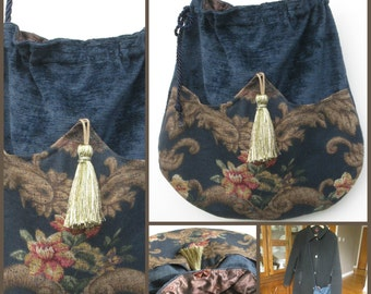 NAVY ROSE Crossbody Chenille Velour Drawstring Bag, Bohemian Bag, Gypsy Bag, Crossbody Bag, Victorian Bag, Handmade Bag, Ravengirl Design