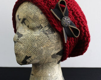 Red Crocheted Beret with Black and Brass Zipper Bow