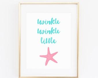 DIGITAL Twinkle Twinkle Little Starfish Wall Art, Aqua Blue & Pink Nautical Girl Nursery, Nautical Wall Decor, Beach Baby Print - ANY SIZE