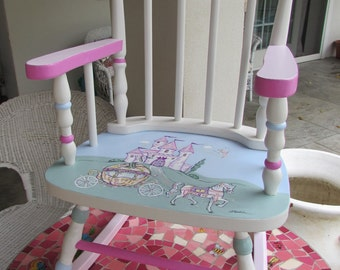 Perfect Girls Princess Rocking Chair,Nursery Furniture,Fairy Tale Rocker,Girls Pink  And
