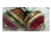 UFO Striped Mercury Glass Ornaments 2 Christmas Lanterns Holiday Decor 1940s Pink Green WWII  Soaring Hawk Vintage