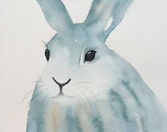 """Watercolor Rabbit Art, ORIGINAL 11""""x14 Watercolor Bunny, Bunny Art, Nursery Art Rabbit Painting, Rabbit Sketch, Rabbit Art, Waterolor Rabbit"""