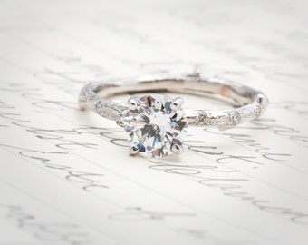Twig Engagement Ring with scattered diamonds and 1ct Forever One moissanite
