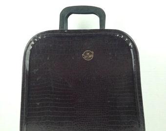 Vintage Jet Away Suitcase 1950s Brown Wig Bag Jet Away Crocidile Pattern Vintage Travel Case Old Mid Century Wig Bag Case Alligator Print