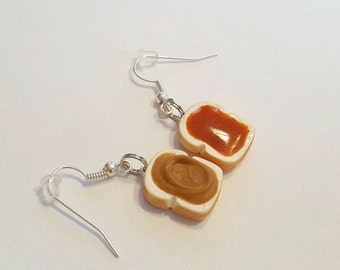 Peanut Butter and Jelly Dangle Earrings, Polymer Clay Food Jewelry, PB&J