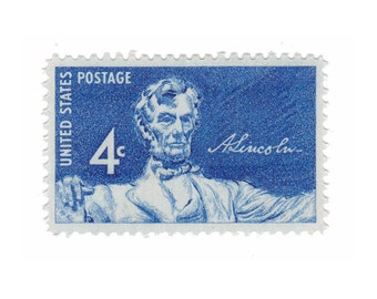 10 Unused Vintage Postage Stamps - 1959 4c Statue of Lincoln - Item No. 1116 - Vintage Postage Shop