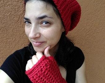 Pretty Simple Fingerless Gloves - Red Fingerless Gloves - Red Wristers - Red Gloves for Her - Short Fingerless Gloves - Short Red Gloves