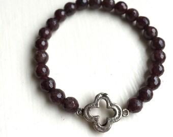 Maroon Open Clover Bracelet