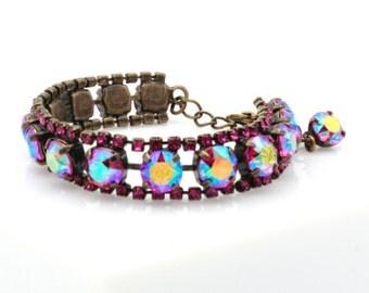 Fuschia A/B Swarovski Elements tennis bracelet, bright pink, vintage style, estate style, present, party, bridesmaid.
