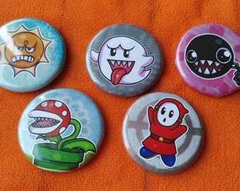 Mario Brothers 5 Piece Button set - Angry sun, Boo, Chain Chomp, Piranha plant, and Shyguy