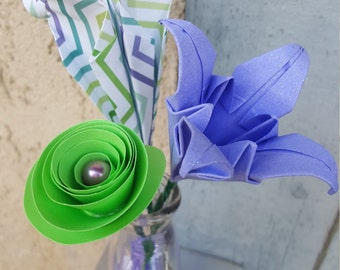 Green and Purple Mini Origami Flower Arrangement