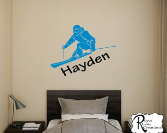 Ski Decal with Personalized Name -Skier Decal -Ski Wall Decal- Skier Wall Decal