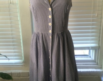 Navy and White Checked Cotton Dress Daisy Buttons Size L