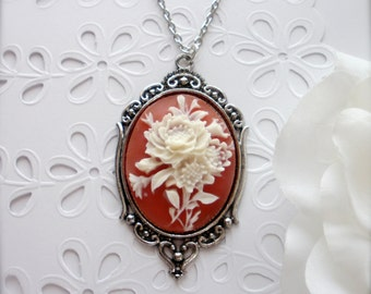 Floral Design Cameo, Victorian Carnelian and Ivory Bouquet Cameo Necklace, Bouquet Cameo Necklace, Flower Cameo Pendant, Gift for Her