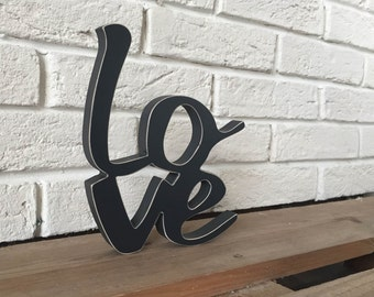 Valentine Love wood sign, love decoration, Charcoal grey with distressed edges