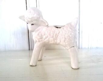 Lamb Planter:  Easter March Lamb Retro Baby-Shower-Gift Nursery-Decor Glazed-Ceramic Porcelain Vintage Little Bo Peep Spring-