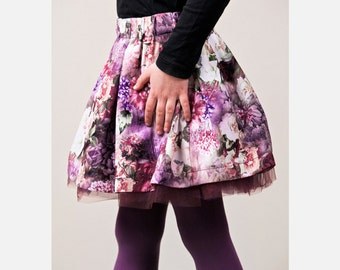 girl skirt floral roses skirt flower baby skirt handmade skirt with tulle petticoat toddler skirt