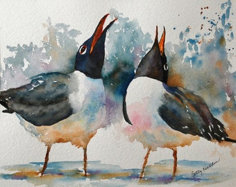 LOL!  Laughing Gulls, beach birds, gulls, PRINT of an original watercolor by Betty Hadden
