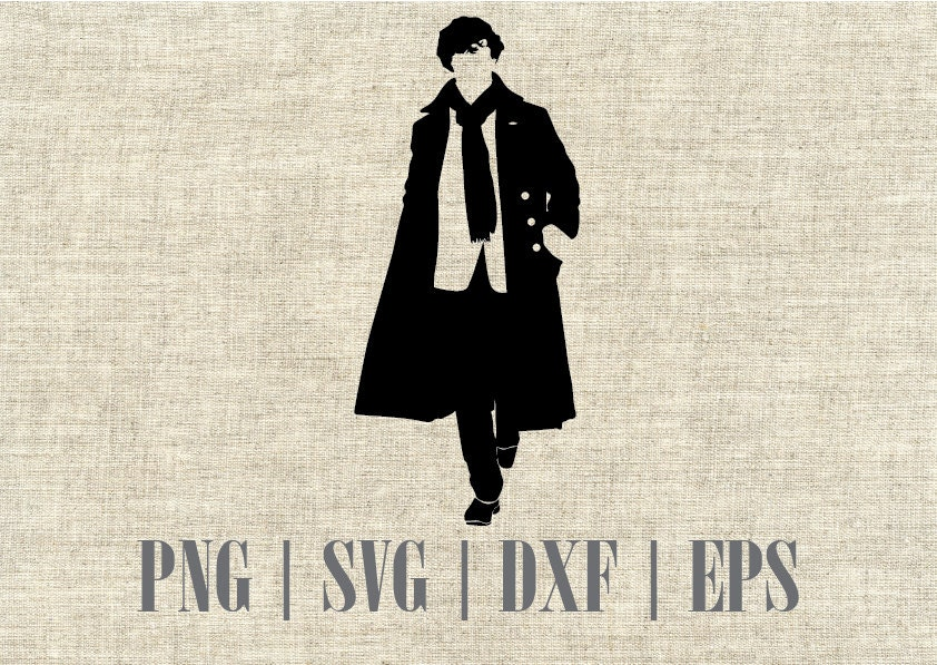 Sherlock Holmes Silhouette SVG Cutting File also available in