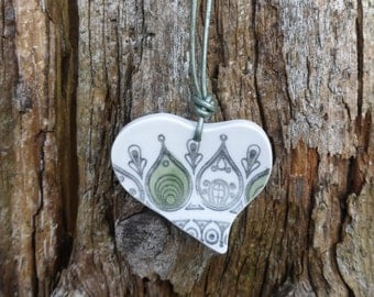 Biltons china - heart pendant - vintage china - broken plate jewellery - upcycled china - eco jewellery - handmade - reloved china