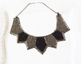 Gray Black Beaded Collar Necklace