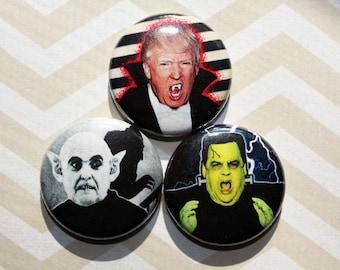 GOP Halloween protest politics political democrat -One Inch Pinback Button Magnet Set