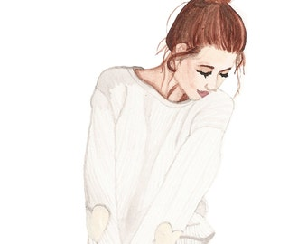 Cute Fashion Illustration - Watercolor Girl with Heart Patch Sweater and Jean Shorts