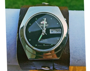 Handmade leather wrist cuff with Vintage 1950's Japanese Orient watch face in Black